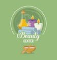 colorful logo of beauty center with set of bottle vector image vector image