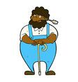 comic cartoon farmer leaning on walking stick vector image