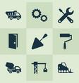 construction icons set with door tipper trowel vector image