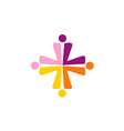 cross abstract group people colorful logo vector image vector image