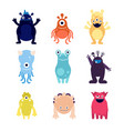 cute monsters funny monster aliens mascots crazy vector image vector image