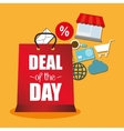 deal of the day offer bag gift icons vector image