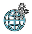 earth planet sphere with gears vector image