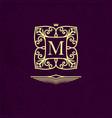 elegant outline monogram with letter m design vector image vector image