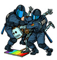 fight future robot police arrest activist vector image vector image