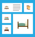 flat set of bedroom mattress bed and othe vector image vector image