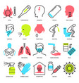 flu and coronavirus icon set in line style vector image