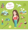 Girl thinks where to travel mountains or sea vector image vector image