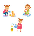 girl watering flower washing dishes feeding cat vector image vector image