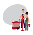 girl with mop and bucket man using floor cleaning vector image vector image