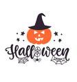 happy halloween banner with a pumpkin vector image