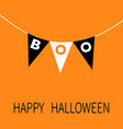 happy halloween card bunting flags pack boo vector image vector image