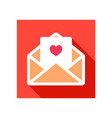 happy valentine day card in envelope icon vector image vector image