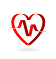 Heart with pulse ribbon logo template Cardiology vector image