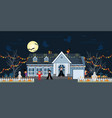 house facade decorated for halloween night vector image vector image