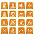 knight medieval icons set orange square vector image