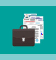 leather business briefcase and pile documents vector image