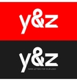 letter Y and Z logo paper set background vector image vector image