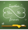 Love greeting card on the chalkboard in shape of vector image