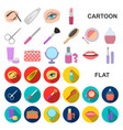 makeup and cosmetics cartoon icons in set vector image vector image