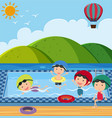 many children in the swimming pool vector image