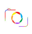 Multicolored camera on a white background vector image vector image