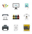 Print icons set flat style vector image vector image