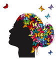 profile a girl with colorful butterflies vector image vector image