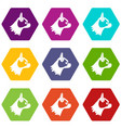 pug dog icon set color hexahedron vector image vector image