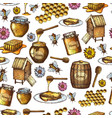 seamless honey sketch vector image