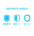 security levels icons with shields vector image vector image