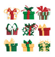 set of different gift boxes vector image vector image