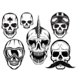 set of six different skulls for design vector image vector image