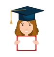 student character with hat graduation and diploma vector image vector image