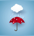 umbrella with rain rainy season paper art style vector image vector image