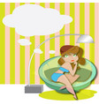 woman relaxing on a sofa with speech bubble vector image vector image