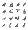 Set of bird icons on white background vector image