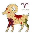 Aries zodiac sign retro vector image vector image