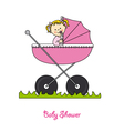Baby girl in carriage vector image vector image