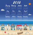 Calendar 2017 Year One Sheet Hand Drawn Beach Huts vector image