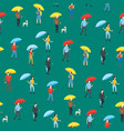 cartoon characters people holding umbrella vector image vector image