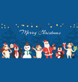 christmas animals santa and snowman cartoon vector image