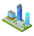 city district with skyscrapers isometric 3d icon vector image vector image