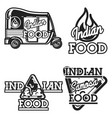 color vintage indian food emblems vector image
