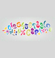 colored cartoon comic font alphabet signs and vector image vector image