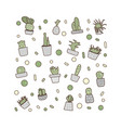 compositon of doodle cactus design set vector image vector image
