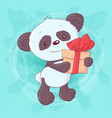 cute cartoon panda with a gift and bow hand vector image vector image
