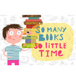 cute smart boy reading books lettering vector image