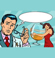 doctor and woman alcoholic vector image vector image