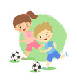 dribble soccer ball boy and girl vector image vector image